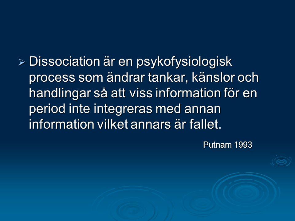 Dissociation är en psykofysiologisk process som ändrar tankar, känslor och handlingar så att viss information för en period inte integreras med annan information vilket annars är fallet.
