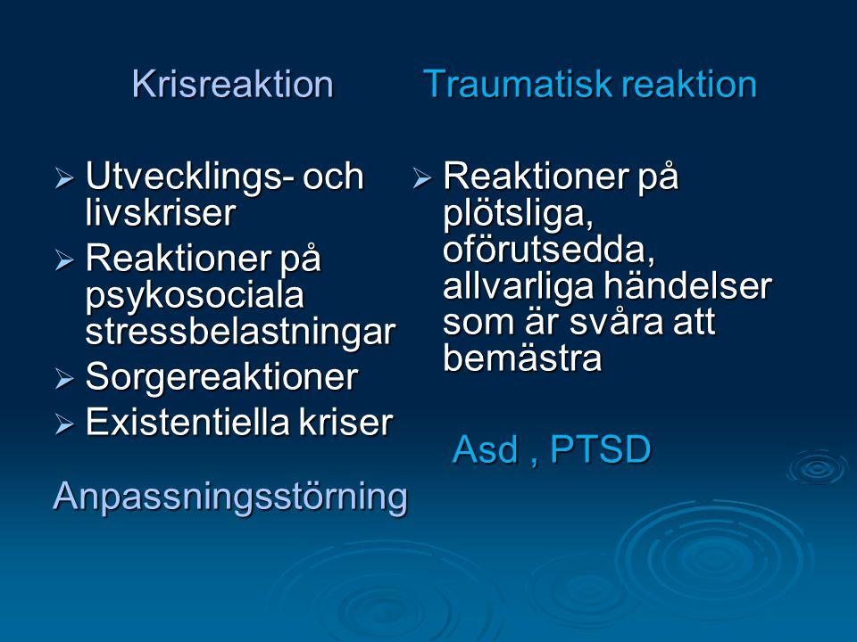 Krisreaktion Utvecklings- och livskriser. Reaktioner på psykosociala stressbelastningar. Sorgereaktioner.