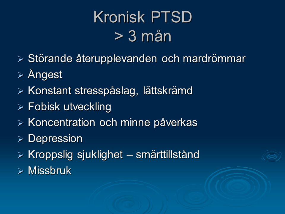 Kronisk PTSD > 3 mån Störande återupplevanden och mardrömmar Ångest