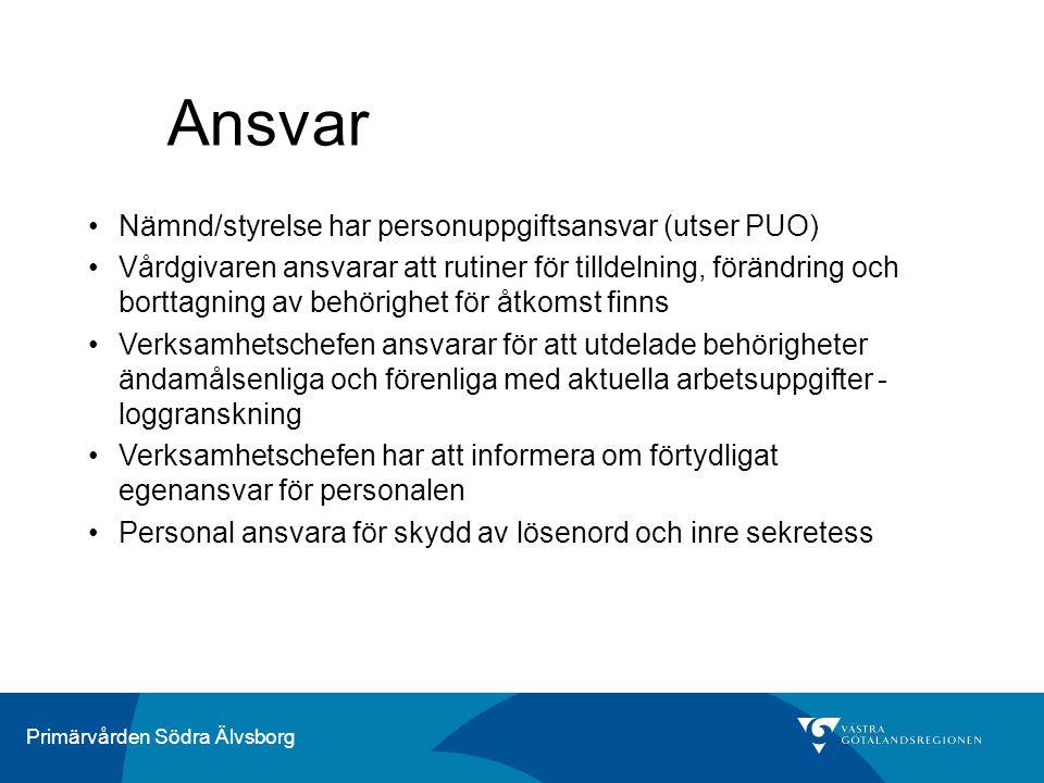 Ansvar Nämnd/styrelse har personuppgiftsansvar (utser PUO)