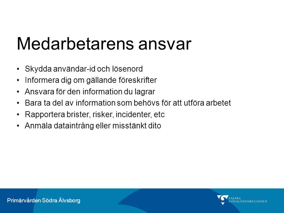 Medarbetarens ansvar Skydda användar-id och lösenord