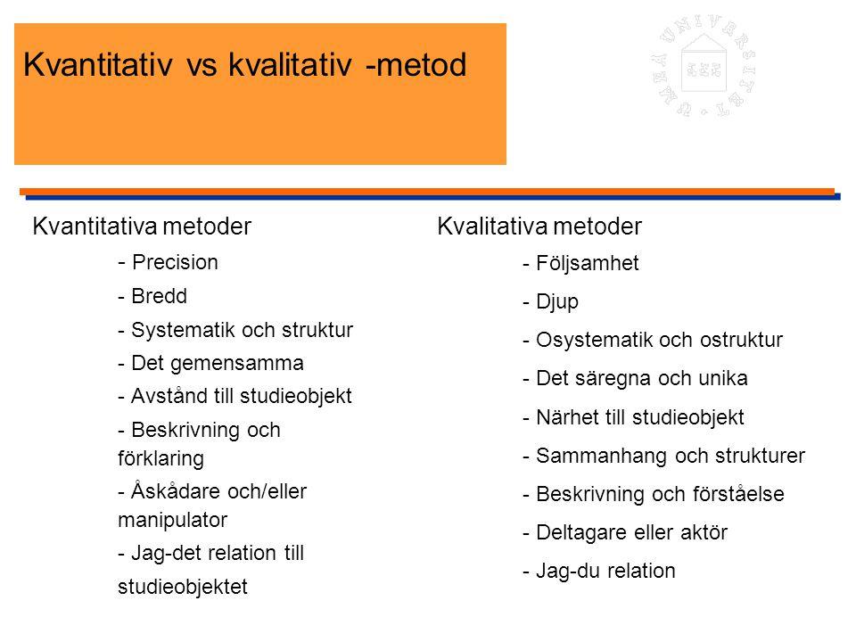 Kvantitativ vs kvalitativ -metod