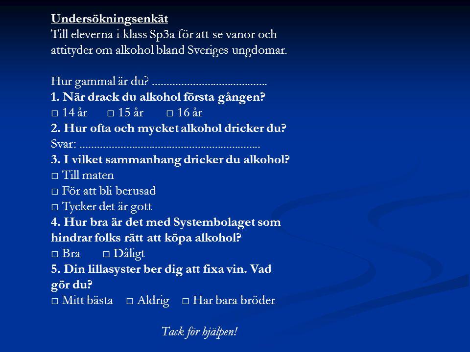 Undersökningsenkät Till eleverna i klass Sp3a för att se vanor och. attityder om alkohol bland Sveriges ungdomar.