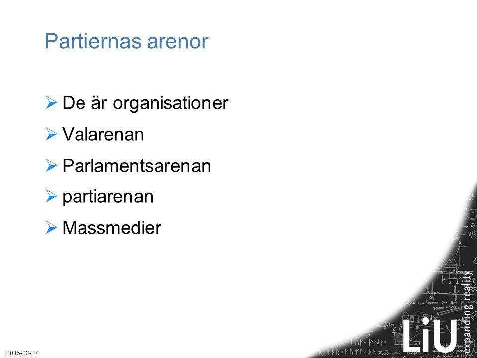 Partiernas arenor De är organisationer Valarenan Parlamentsarenan