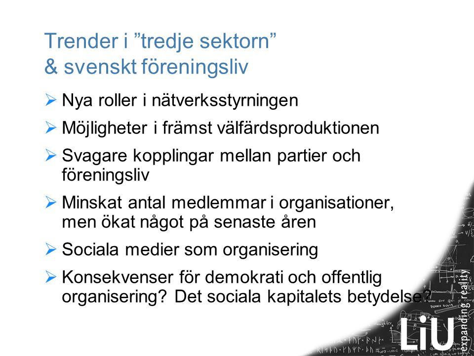 Trender i tredje sektorn & svenskt föreningsliv