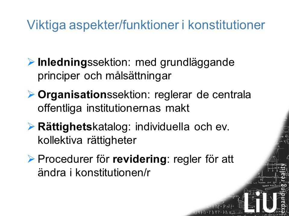Viktiga aspekter/funktioner i konstitutioner