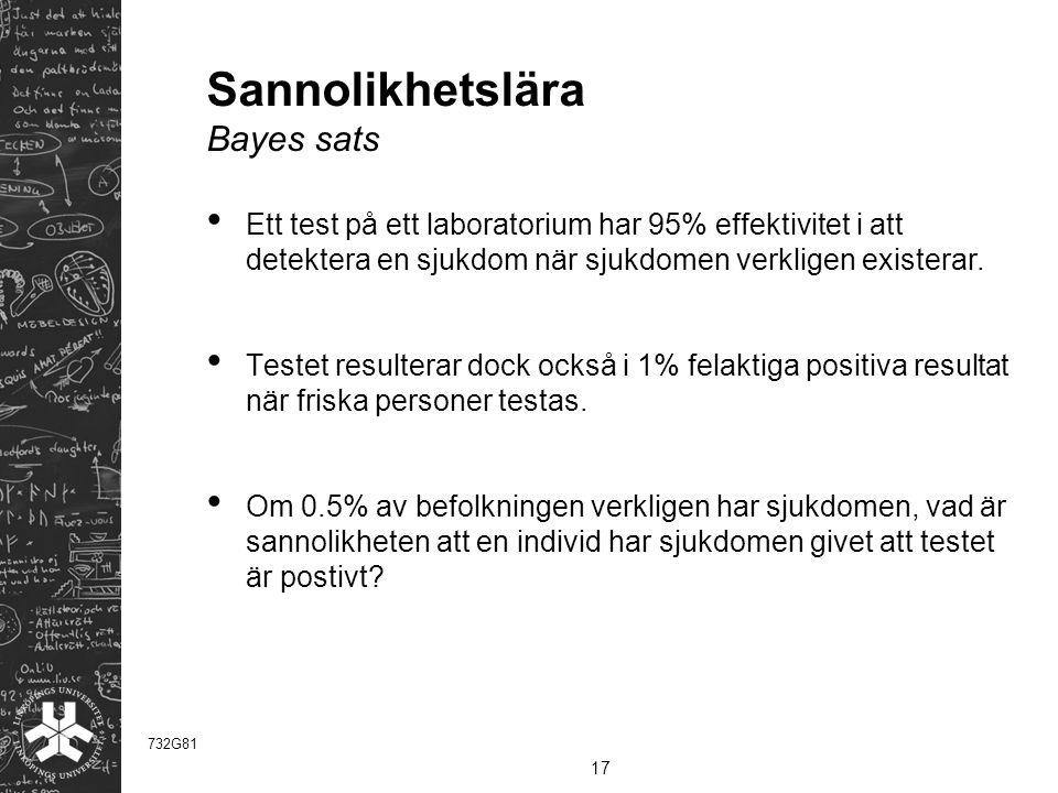 Sannolikhetslära Bayes sats