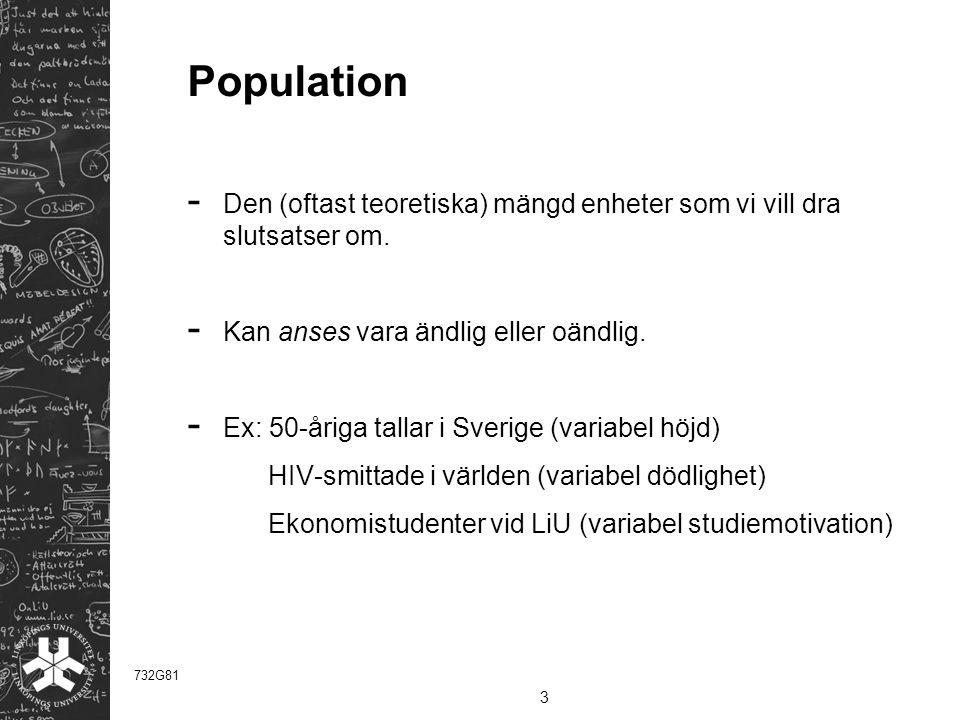 Population Den (oftast teoretiska) mängd enheter som vi vill dra slutsatser om. Kan anses vara ändlig eller oändlig.