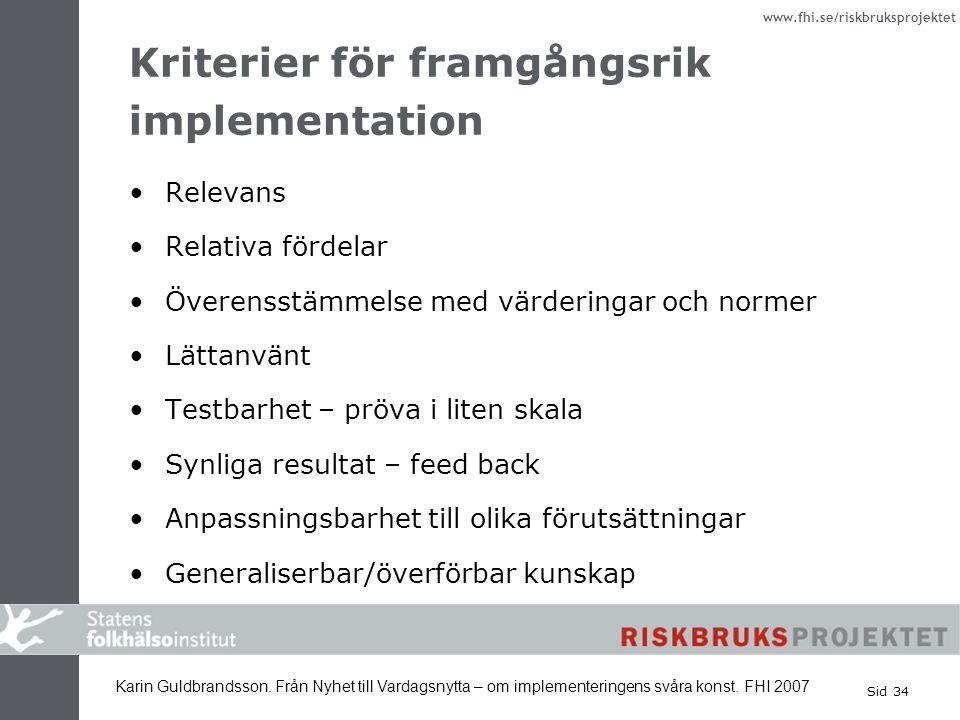 Kriterier för framgångsrik implementation