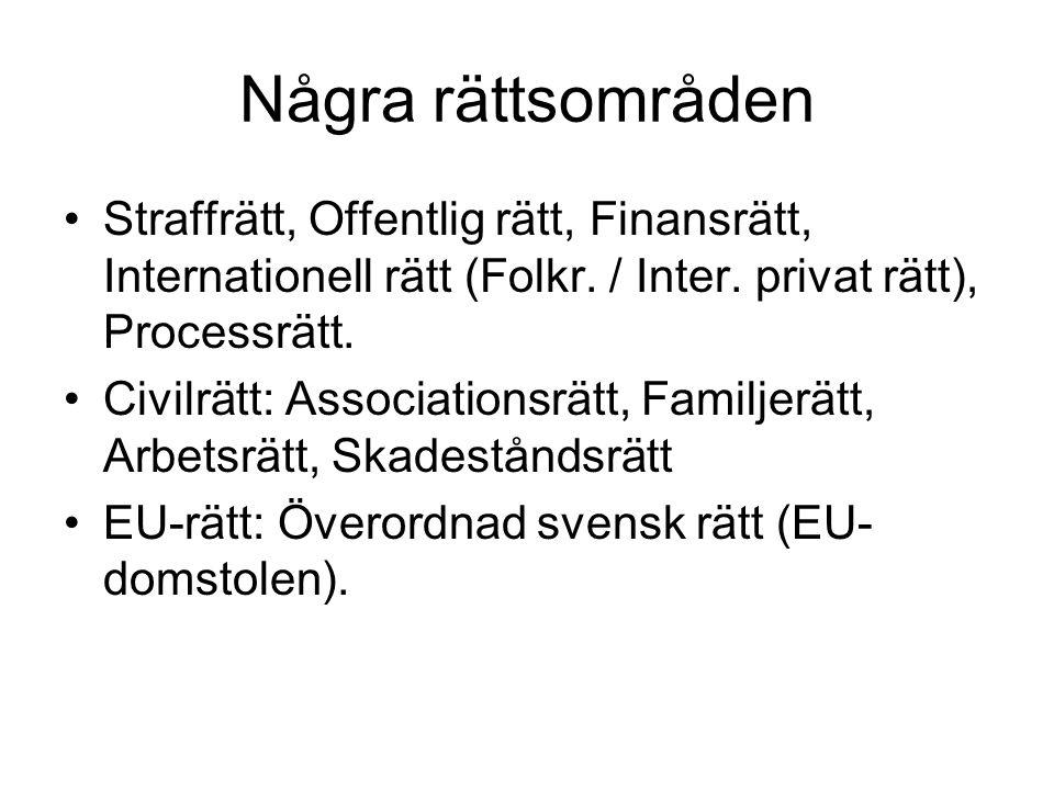 Några rättsområden Straffrätt, Offentlig rätt, Finansrätt, Internationell rätt (Folkr. / Inter. privat rätt), Processrätt.