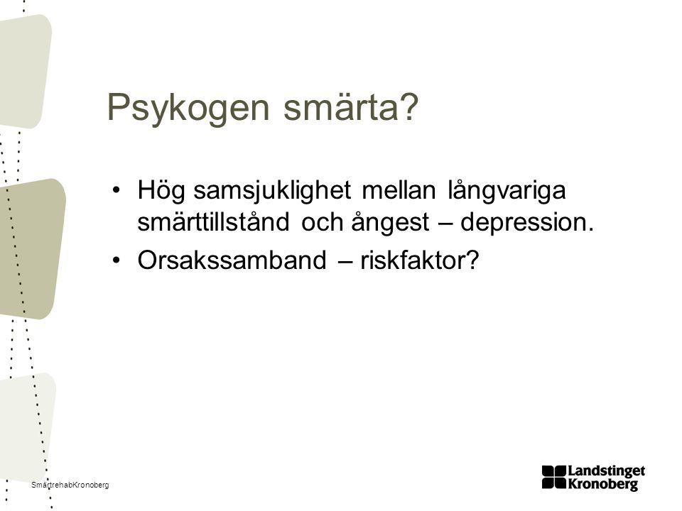 Psykogen smärta. Hög samsjuklighet mellan långvariga smärttillstånd och ångest – depression.
