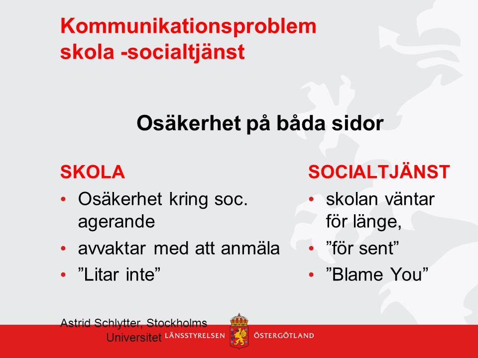 Kommunikationsproblem skola -socialtjänst