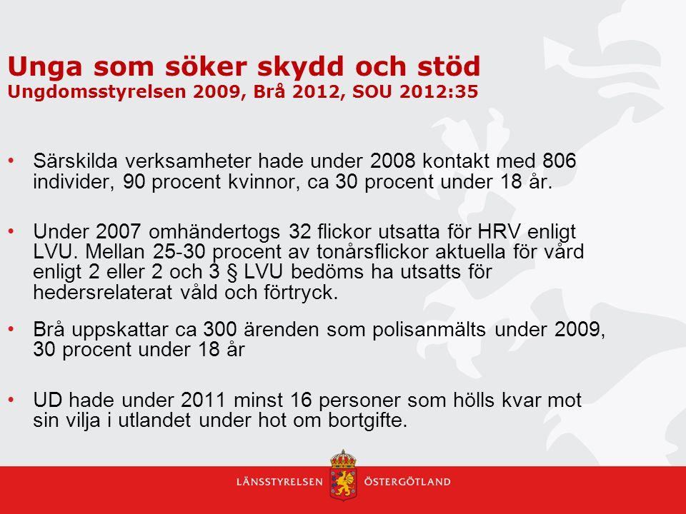 Unga som söker skydd och stöd Ungdomsstyrelsen 2009, Brå 2012, SOU 2012:35