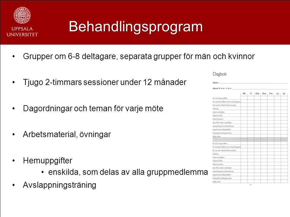 Behandlingsprogram Grupper om 6-8 deltagare, separata grupper för män och kvinnor. Tjugo 2-timmars sessioner under 12 månader.