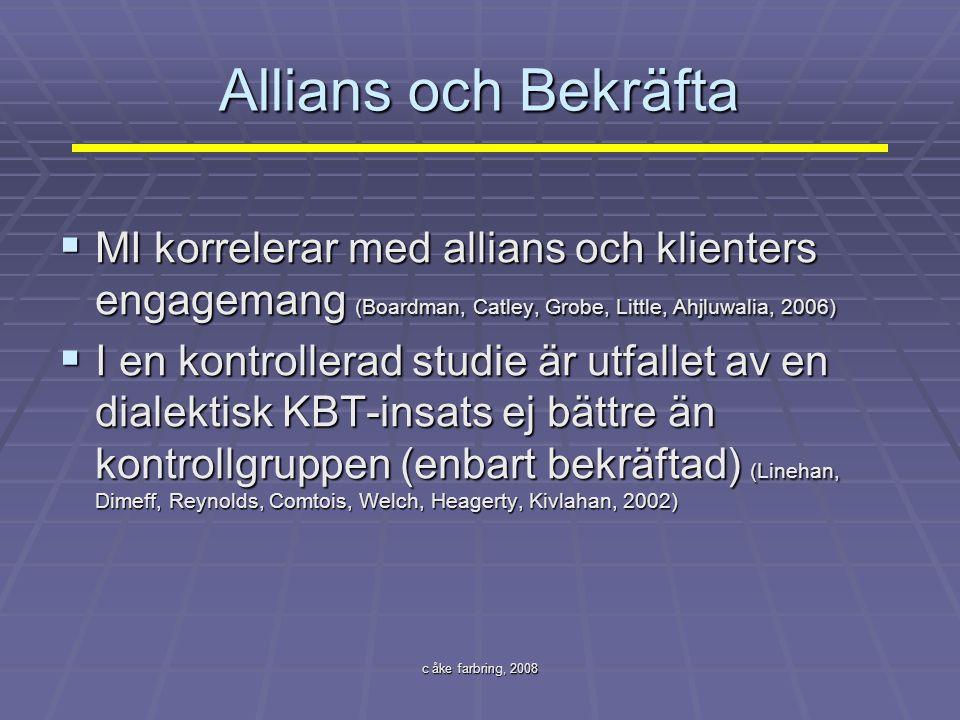 Allians och Bekräfta MI korrelerar med allians och klienters engagemang (Boardman, Catley, Grobe, Little, Ahjluwalia, 2006)