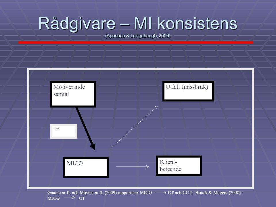 Rådgivare – MI konsistens (Apodaca & Longabaugh, 2009)