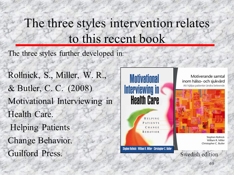 The three styles intervention relates to this recent book