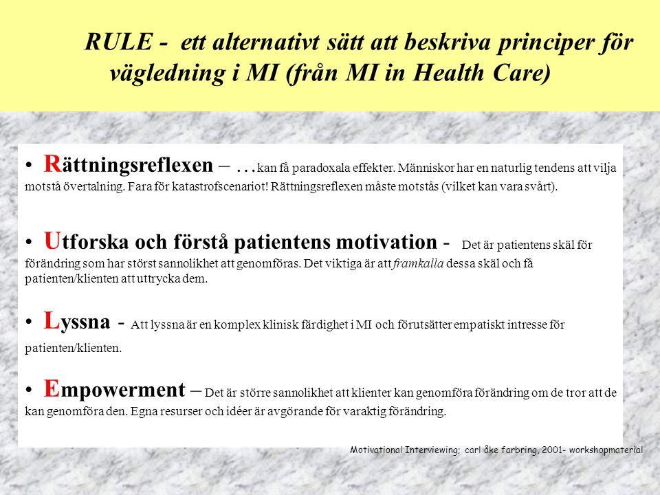 RULE - ett alternativt sätt att beskriva principer för vägledning i MI (från MI in Health Care)