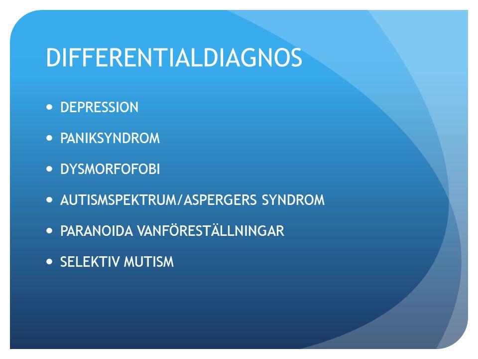 DIFFERENTIALDIAGNOS DEPRESSION PANIKSYNDROM DYSMORFOFOBI