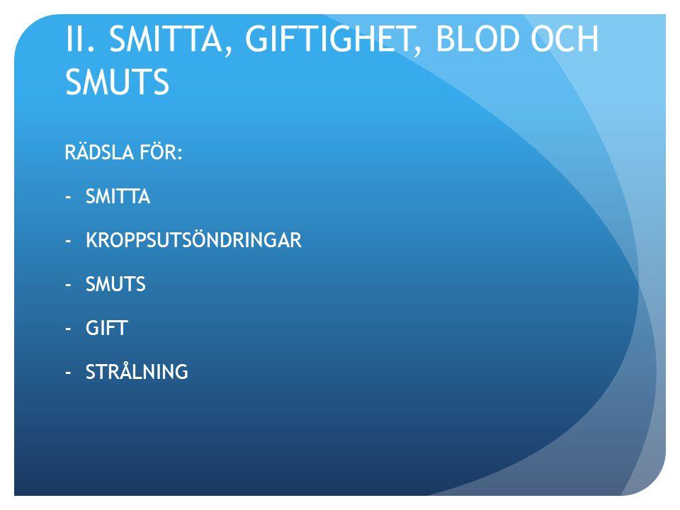 II. SMITTA, GIFTIGHET, BLOD OCH SMUTS