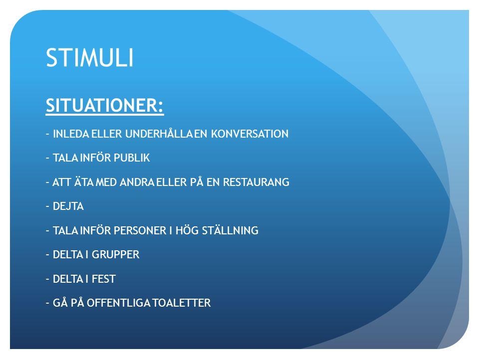 STIMULI SITUATIONER: - INLEDA ELLER UNDERHÅLLA EN KONVERSATION