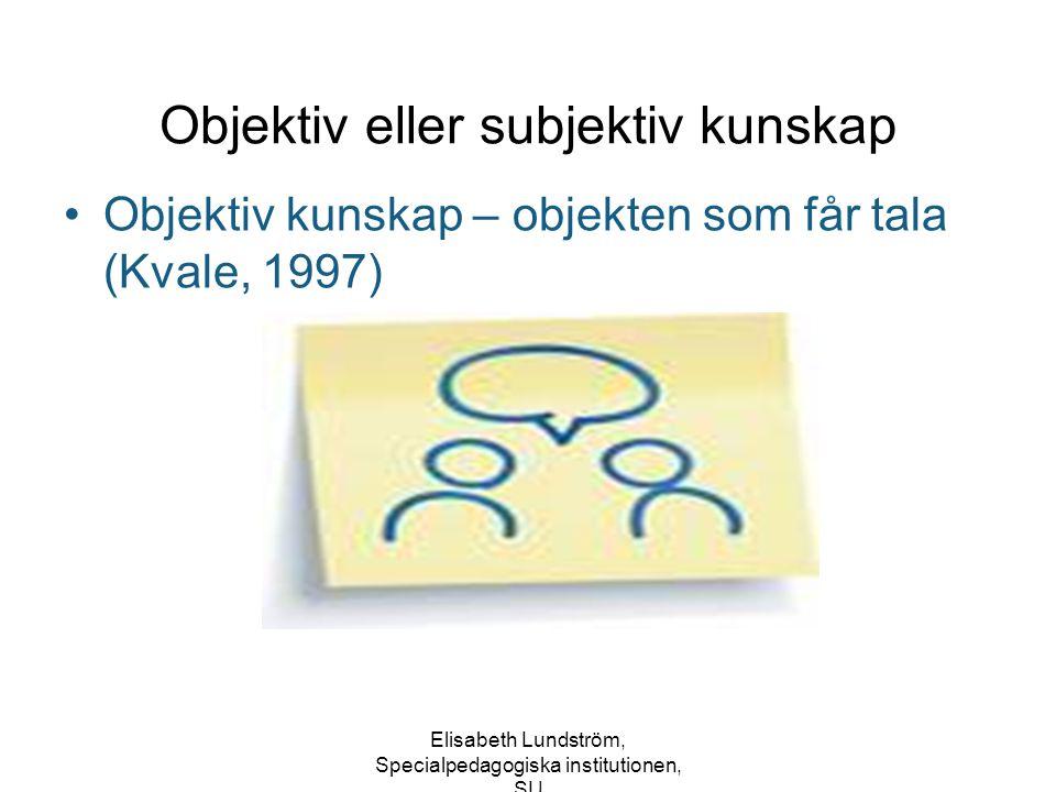 Objektiv eller subjektiv kunskap