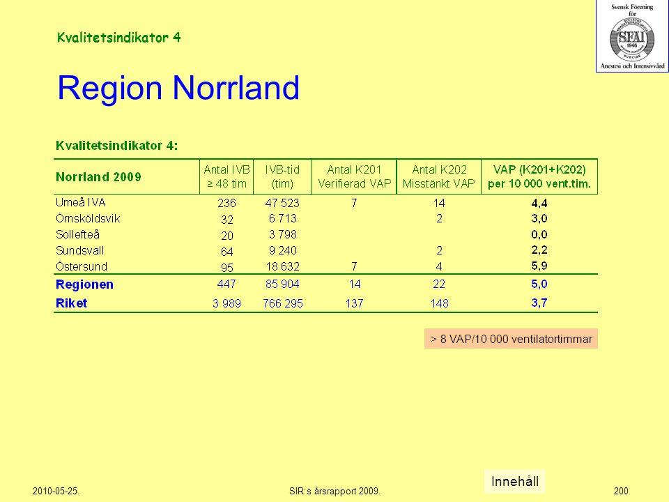 Region Norrland Kvalitetsindikator 4 Innehåll