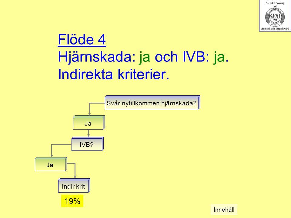 Flöde 4 Hjärnskada: ja och IVB: ja. Indirekta kriterier.