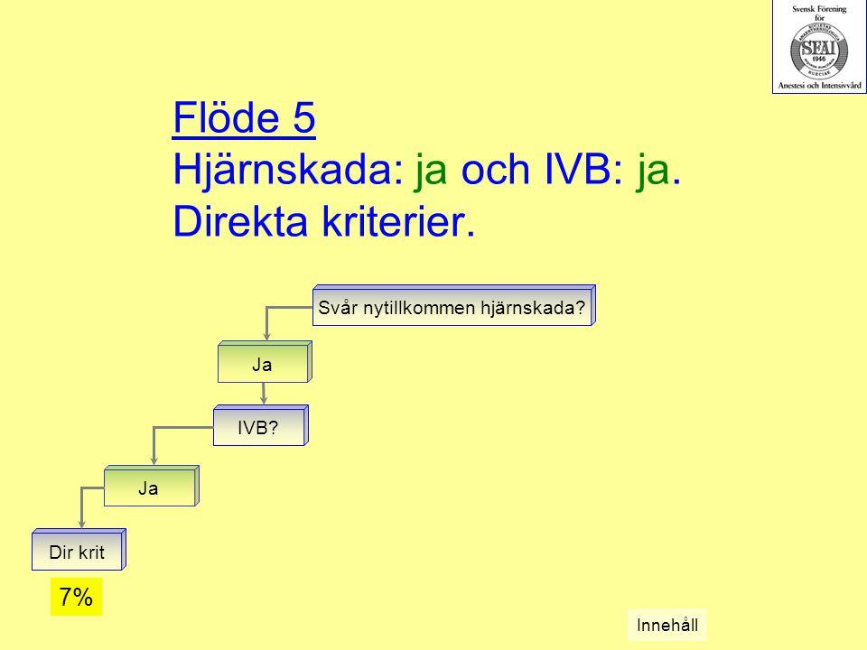 Flöde 5 Hjärnskada: ja och IVB: ja. Direkta kriterier.