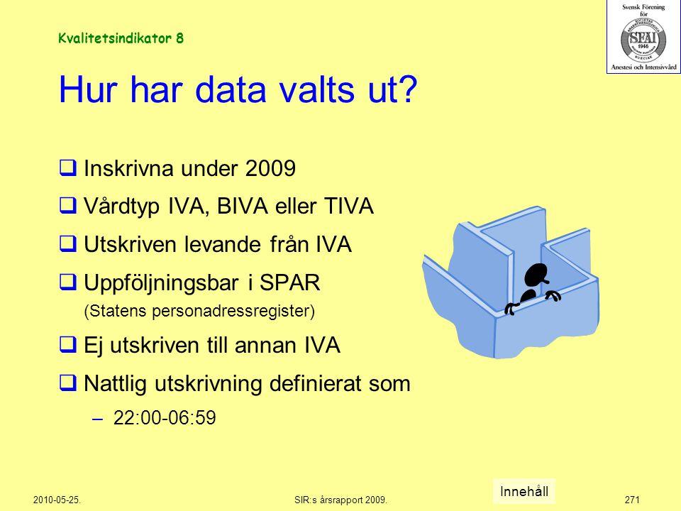 Hur har data valts ut Inskrivna under 2009