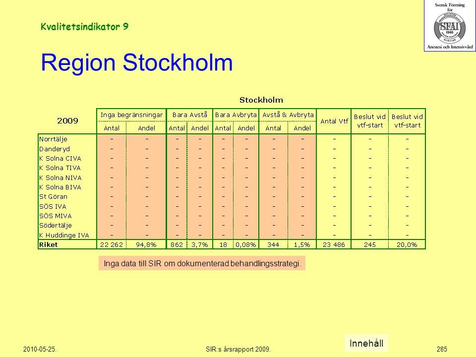 Region Stockholm Kvalitetsindikator 9 Innehåll