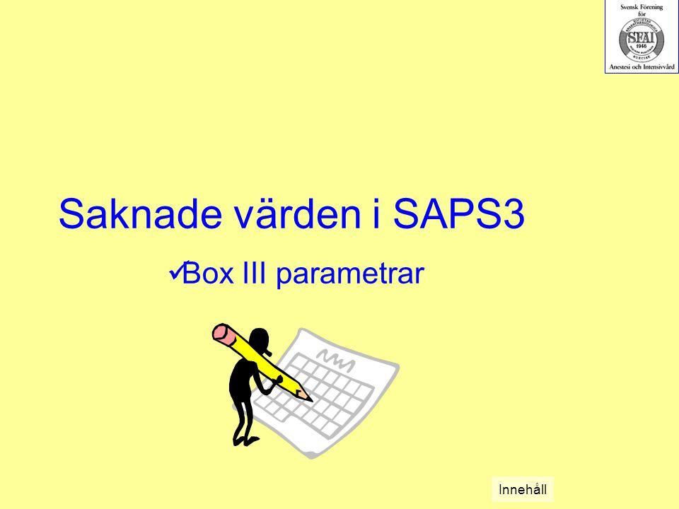 Saknade värden i SAPS3 Box III parametrar Innehåll