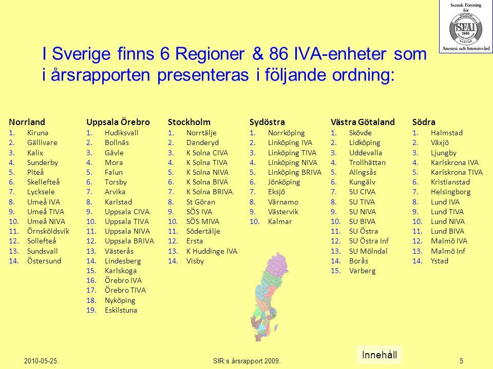 I Sverige finns 6 Regioner & 86 IVA-enheter som i årsrapporten presenteras i följande ordning: