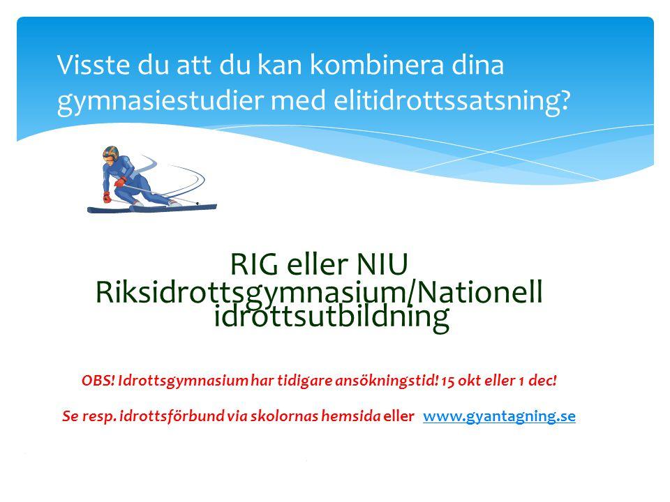 Riksidrottsgymnasium/Nationell idrottsutbildning