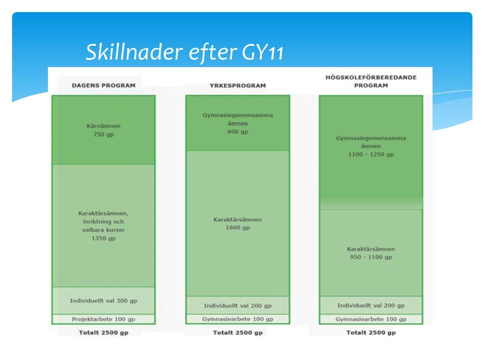 Skillnader efter GY11