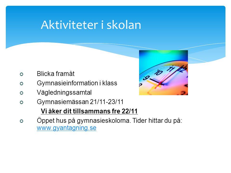 Aktiviteter i skolan Blicka framåt Gymnasieinformation i klass