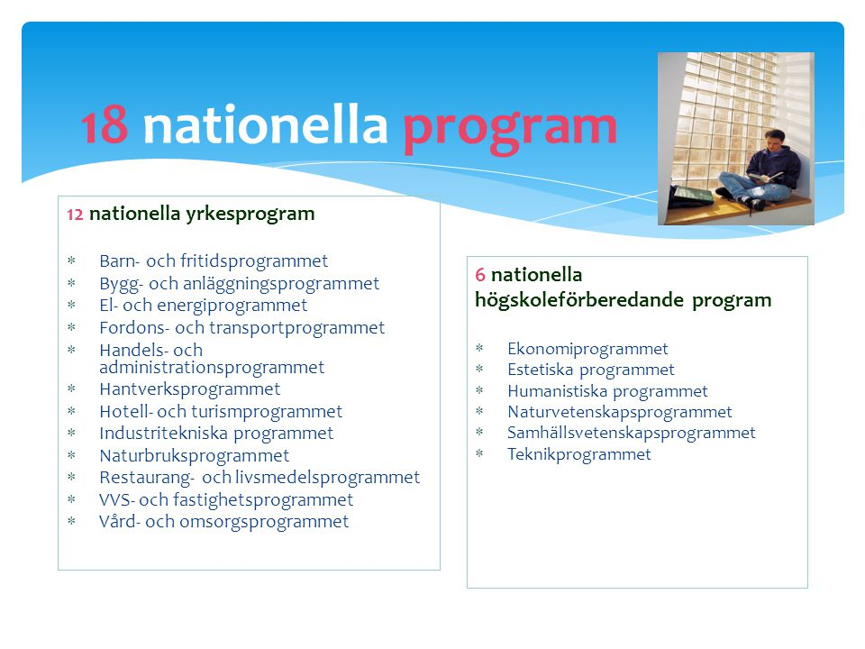 18 nationella program 12 nationella yrkesprogram 6 nationella