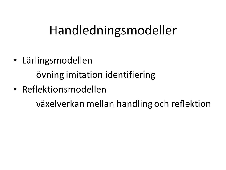 Handledningsmodeller