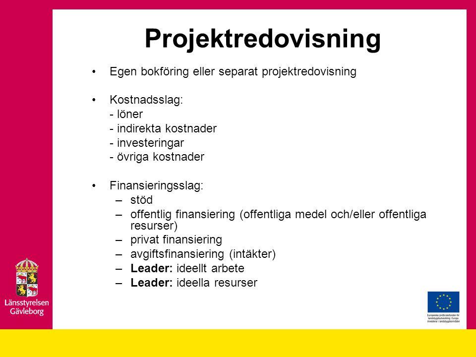 Projektredovisning Egen bokföring eller separat projektredovisning