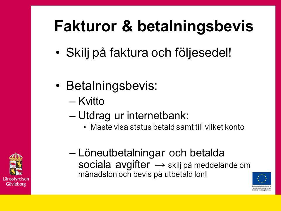 Fakturor & betalningsbevis