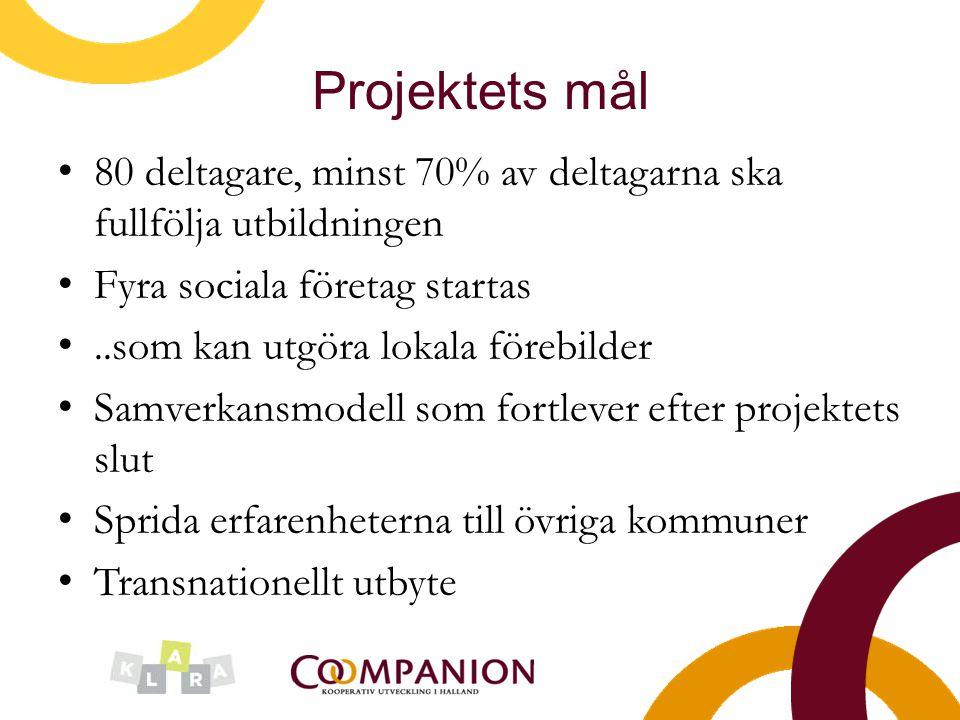 Projektets mål 80 deltagare, minst 70% av deltagarna ska fullfölja utbildningen. Fyra sociala företag startas.