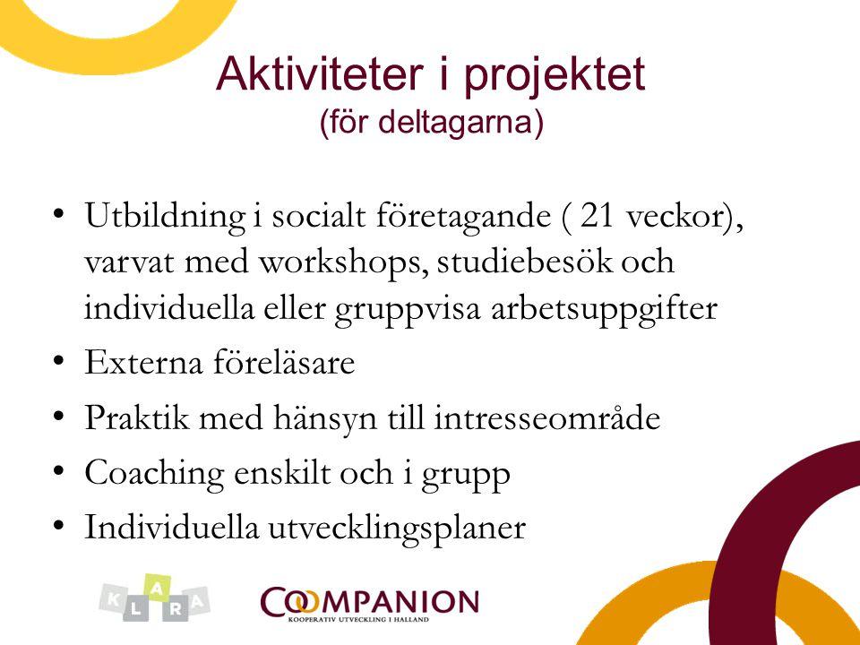 Aktiviteter i projektet (för deltagarna)