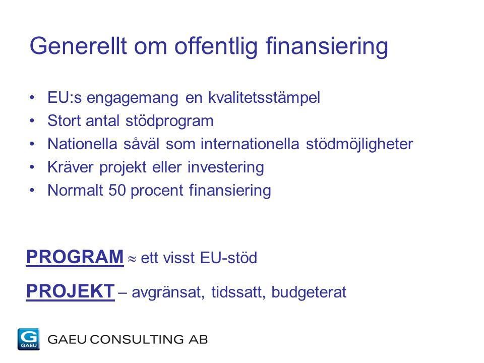 Generellt om offentlig finansiering