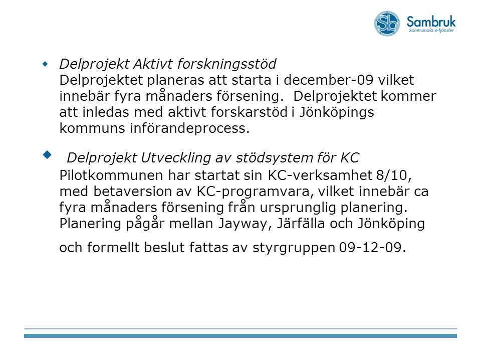 Delprojekt Aktivt forskningsstöd Delprojektet planeras att starta i december-09 vilket innebär fyra månaders försening. Delprojektet kommer att inledas med aktivt forskarstöd i Jönköpings kommuns införandeprocess.