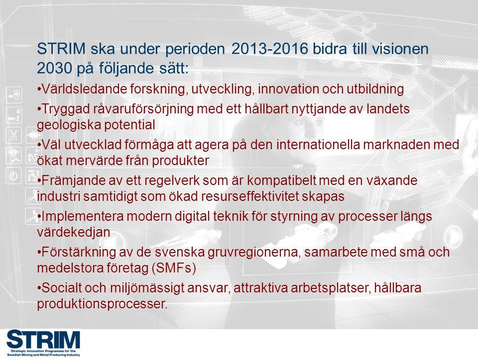 STRIM ska under perioden 2013-2016 bidra till visionen 2030 på följande sätt: