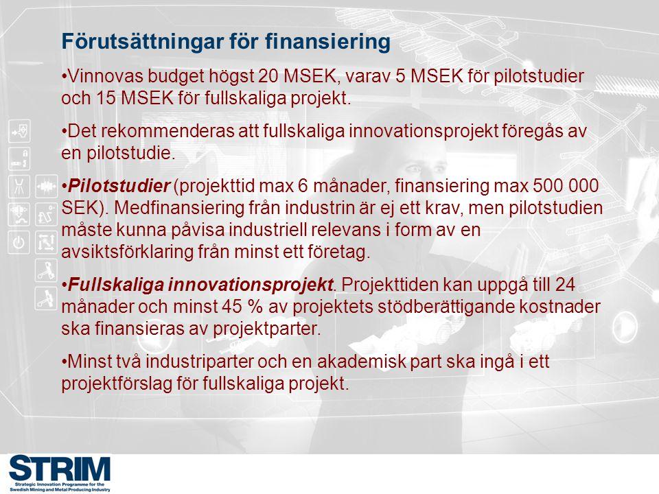 Förutsättningar för finansiering