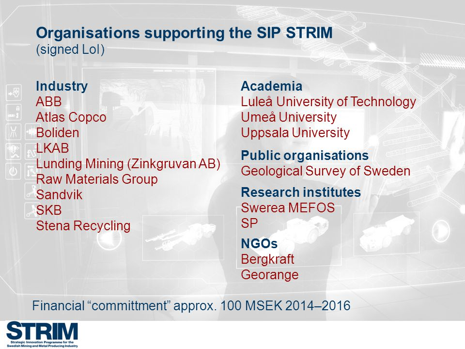 Organisations supporting the SIP STRIM
