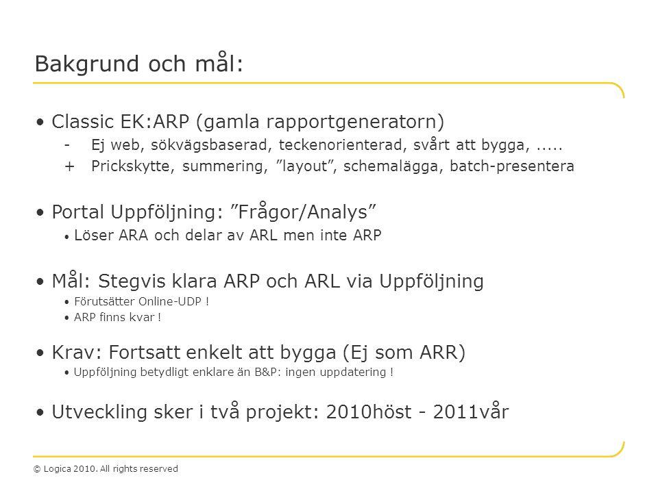 Bakgrund och mål: Classic EK:ARP (gamla rapportgeneratorn)