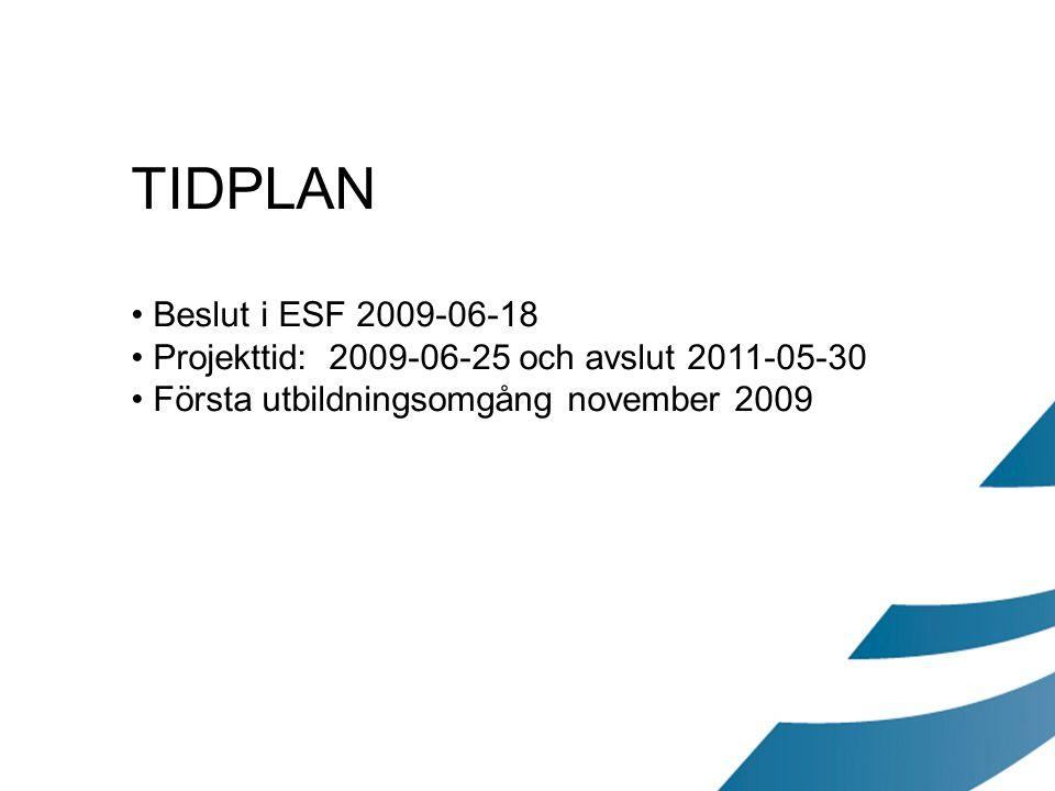 TIDPLAN Beslut i ESF 2009-06-18. Projekttid: 2009-06-25 och avslut 2011-05-30.