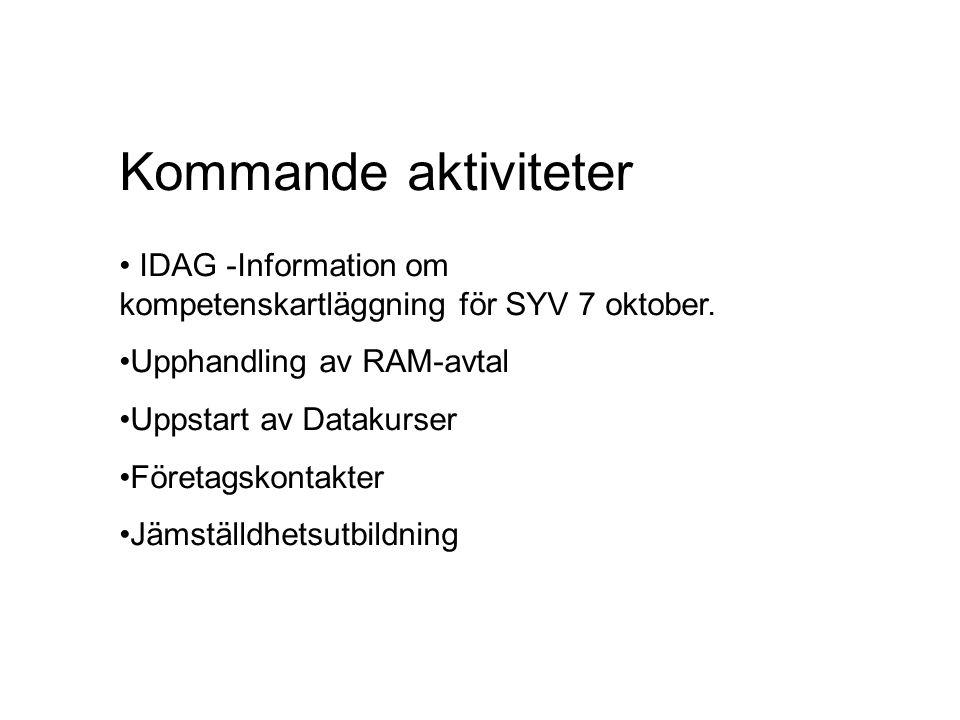 Kommande aktiviteter IDAG -Information om kompetenskartläggning för SYV 7 oktober. Upphandling av RAM-avtal.